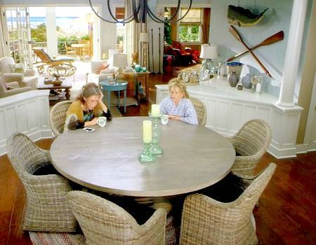 Grace and Frankie Beach House Dining Room with Wall Oars and Hanging Whale. #graceandfrankie