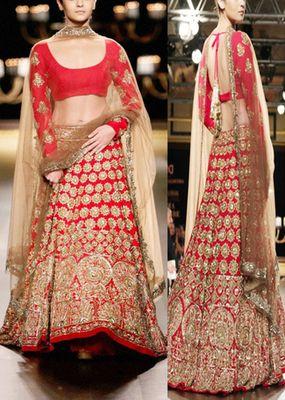 Red with embroidery golden jari work alia bhatt bridal georgette lehenga