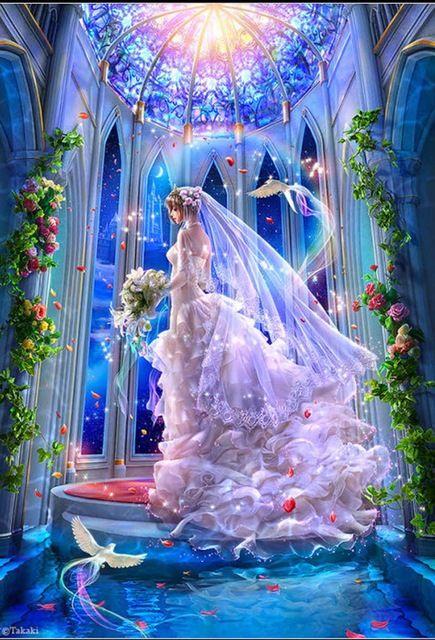 Diamond embroidery: Bride http://ali.pub/1n3fzm crystal painting diy Diamond cross stitch 5D diamond painting Cartoon Princess mosaic of rhinestones set GA98 Flowers Bird Church Wedding Light