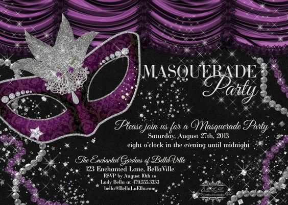 Free Masquerade Party Invitation Templates   Masquerade Birthday ...