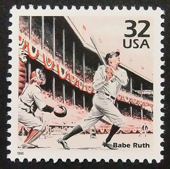 9795 - Framed Postage stamp art - Babe Ruth - Baseball - United States - Notable - Sport: