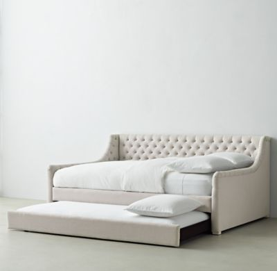 RH TEEN's Devyn Tufted Daybed With Trundle:Generous tufting on the back and sides of our platform-style daybed offers all the comfort of a sofa, making this an ideal spot for lounging, reading or indulging in some quiet time.