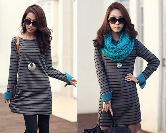 Street Style Stripe Print Cuff Turn-Up Loose Fit Long Sleeve Spring Dress For Women (GRAY,ONE SIZE) China Wholesale - Sammydress.com