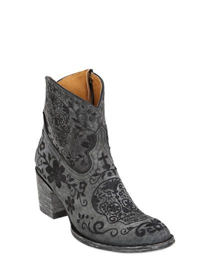 MEXICANA - 65MM KLAK SUEDE EMBROIDERED BOOTS - LUISAVIAROMA - LUXURY SHOPPING WORLDWIDE SHIPPING - FLORENCE