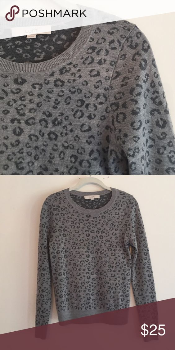 LOFT leopard print sweater Loft leopard print sweater. Great used condition LOFT Sweaters Crew & Scoop Necks