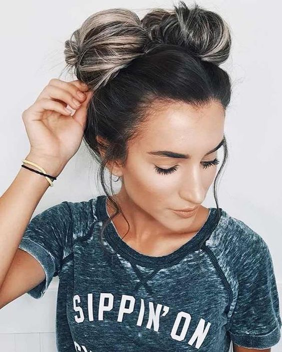 Cute messy hair bun