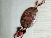 Kupfer-Vintage-Kette, Perlen, braun, Achate, Feder