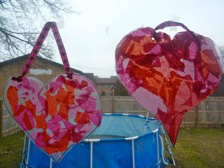 Very Easy Valentine's Day Sun Catchers. Using contact paper, tissue paper, and Ribbon. From Mama Of Many Blessings