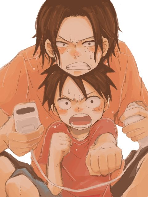 Ace and Luffy #one piece  This is also me and my little sister when we play XD