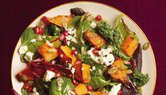 Salat mit gebackenem Kürbis, Granatapfel und Ziegenkäse - Rezepte…