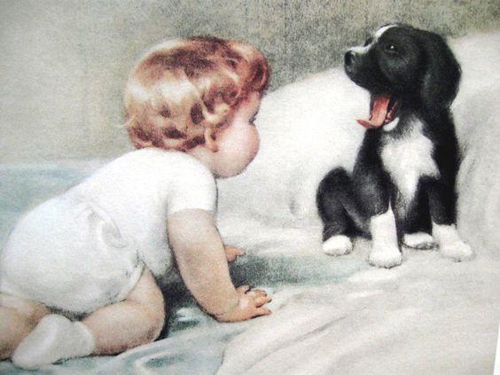 Bessie Pease Gutmann Prints ... Child with Puppy Who's Sleepy