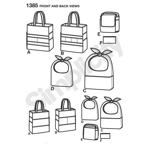 Simplicity Pattern 1385 Art Caddies, Lunch Bags and Snack Bag: