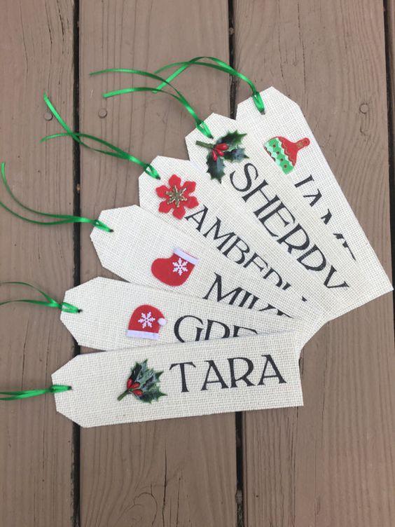 Burlap Christmas Stocking NAME TAG Stocking by laceburlapshop