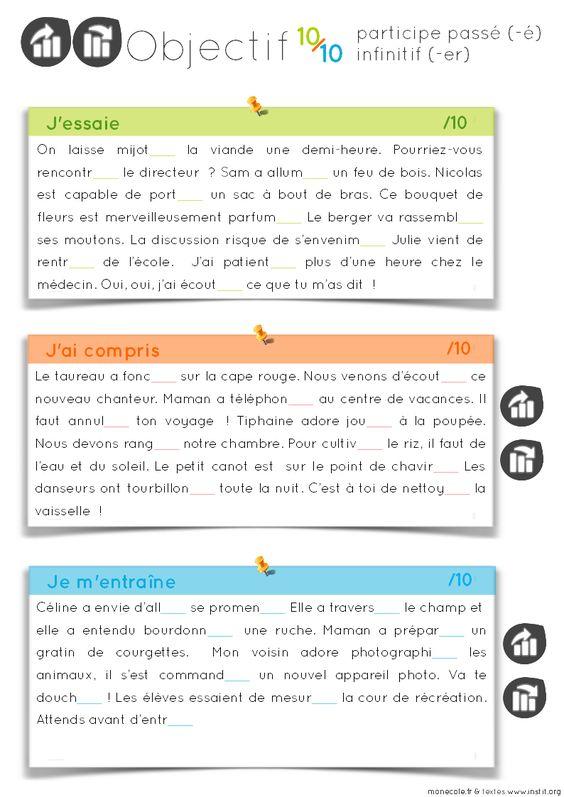 Cycle 3 : objectif 10 sur 10 : homonymes et règles d'orthographe