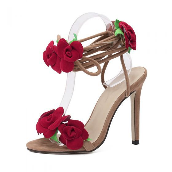 Piekne Bezowe Przypadkowy Kwiat Sandaly Damskie 2020 Z Paskiem 11 Cm Szpilki Peep Toe Sandaly In 2020 Lace Up Sandals Rosette Shoes Flower Sandals