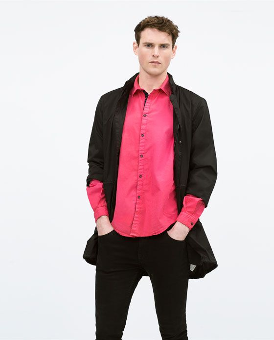 ZARA - MAN - Long sleeve placket cotton shirt