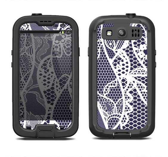 The Dark Blue & White Lace Design Samsung Galaxy S3 LifeProof Fre Case Skin Set