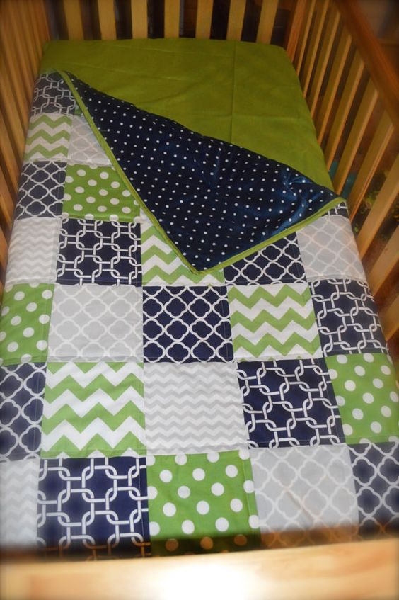 Navy Blue Lime Green And Grey Baby Quilt By