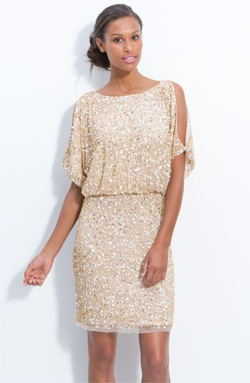 Aidan Mattox Bloused Cold Shoulder Sequin Dress - New Years ...