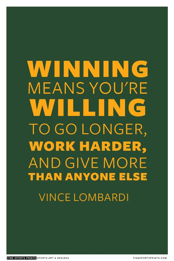 Vince Lombardi Green Bay Embarcadores inspirador ganador citar póster imprimir...