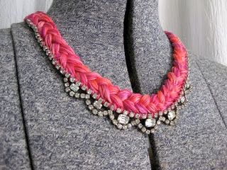 rhinestone and embroidery floss braid necklace