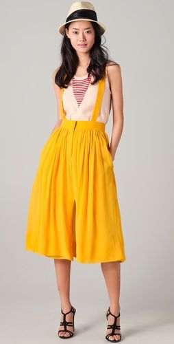 Sonia Rykiel Pleated Skirt with Suspenders, silk chiffon, $1,025. Yikes, can't afford but love the color, could do without suspenders, which is an option.