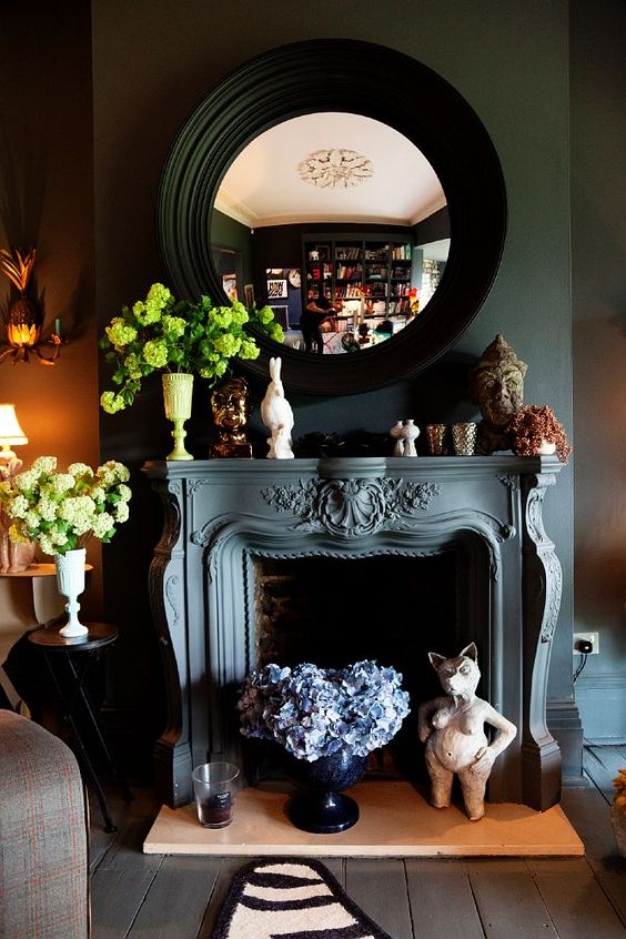 Gray mantel: Fire Place, Decor Ideas, Round Mirror, Convex Mirror, Livingroom, Living Room, Dark Walls, Abigail Ahern S