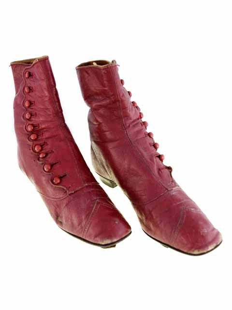 Victorian High Button Boots, Rare Red Color, 1860S Size 5 | eBay: