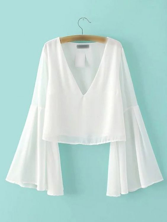 White Bell Sleeve V Neck Chiffon Blouse -SheIn(abaday):