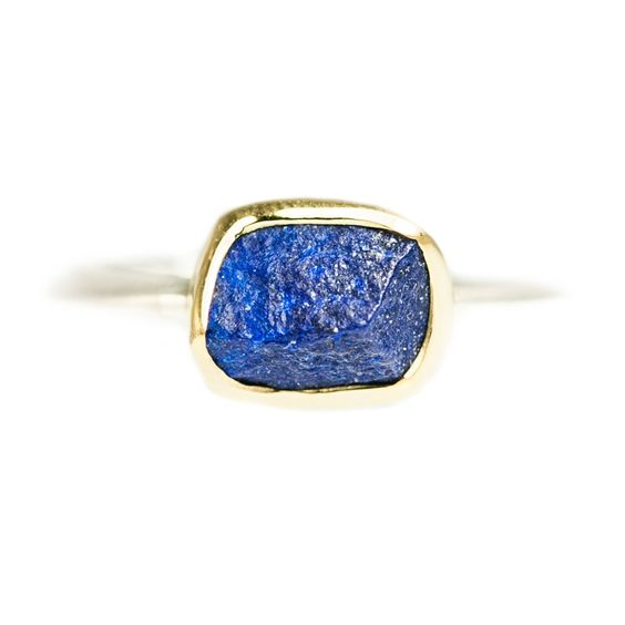 Margoni: Blue Lapis with 18ct Gold and Silver Ring