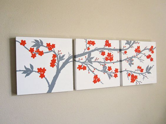 Canvas Wall Art Set 3 Piece Triptych Abstract Orange and Gray Cherry Blossoms Original Painting 12 x 12 Each on Etsy, $220.00