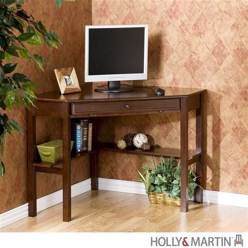 This Tidy Little Workstation Fits In Your Living Room Just As Well As Your Office It Offers A Wide Lowe Corner Computer Desk Corner Writing Desk Computer Desk