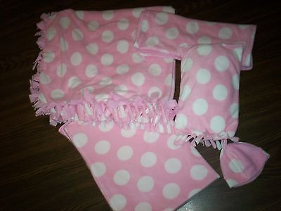 *layette*pink polka-dot*fleece handmade tied #double #blanket,custom #set,baby gi, View more on the LINK: http://www.zeppy.io/product/gb/2/261771757327/