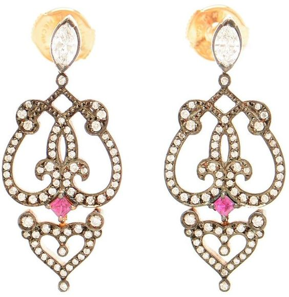 Sabine G 18kt Rose Gold, Ruby And Diamond Earrings