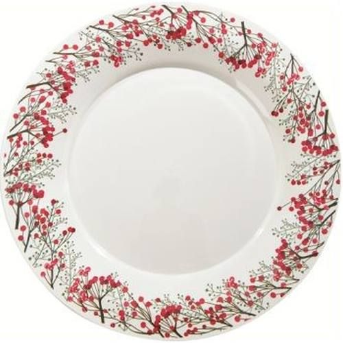 Milan 10 25 Inch Holiday Winter Berries Plastic Plates Christmas Tableware Christmas Plates Christmas Paper Plates
