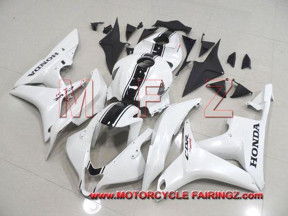 2007 2008 HONDA CBR 600RR Fairing Body Kit Perarl White With Black Stripe FFKHD009