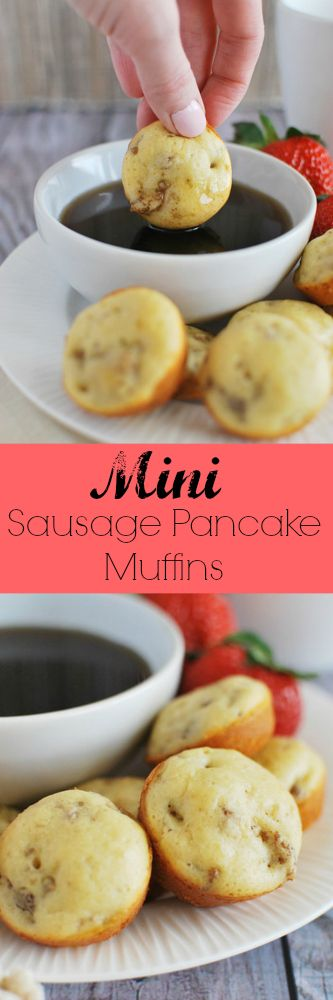 Mini Sausage Pancake Muffins - these muffins are like tiny, handheld pancakes! The whole family will love these!