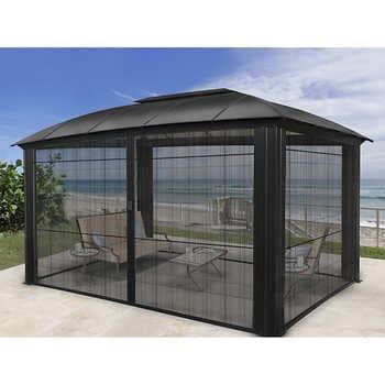 Messina Galvanized Steel Roof Sun Shelter In Dark Gray 12 X 16 In 2020 Aluminum Gazebo Gazebo Pergola