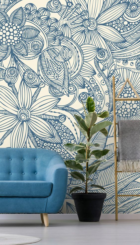 Stunning Flowers And Doodles Blue Wall Mural From Wallsauce This High Quality Flowers Blue Wallpaper Living Room Feature Wall Wallpaper Blue Floral Wallpaper