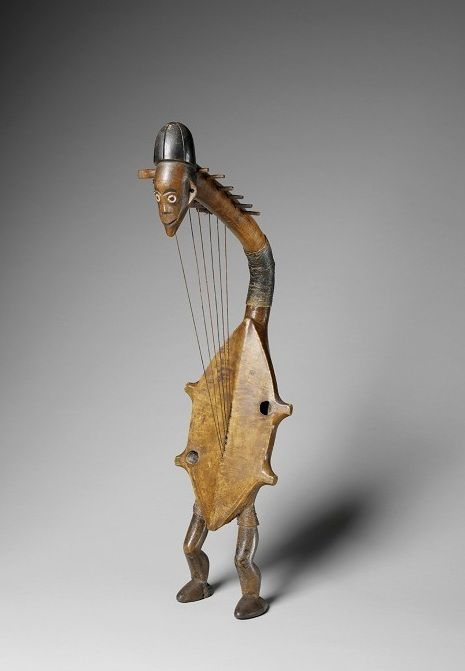 Africa | Musical instrument ~ Harp from the Ngbaka people of DR Congo | Early 20th century | Wood, hide and pigment: