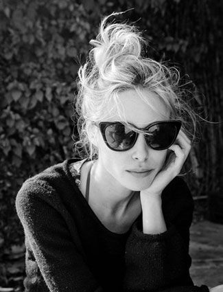 20 Messy-Chic Hairstyles From Pinterest - DailyMakeover: Just add sunglasses to a messy topknot for the ultimate cool-girl look.