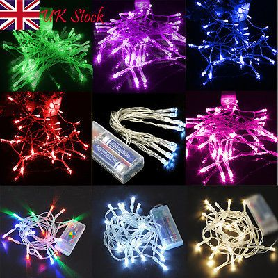 UK Christmas Garden Party String Fairy Light Battery Operated 20/30/40/50/80 LED