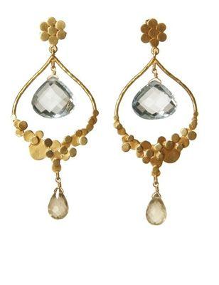 Cheena Chandra chandelier earrings.