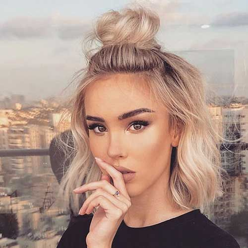 7 Simple Cute High Half Bun Updo For Short Hair Short Hair Bun Hair Styles Short Hair Styles Easy
