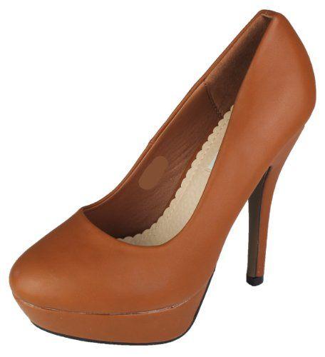 Damen Pumps in verschiedenen Farben mit Plateau High Heels Absatz Schuhe Stiletto Damenschuhe Camel 35 S2080 Mevina