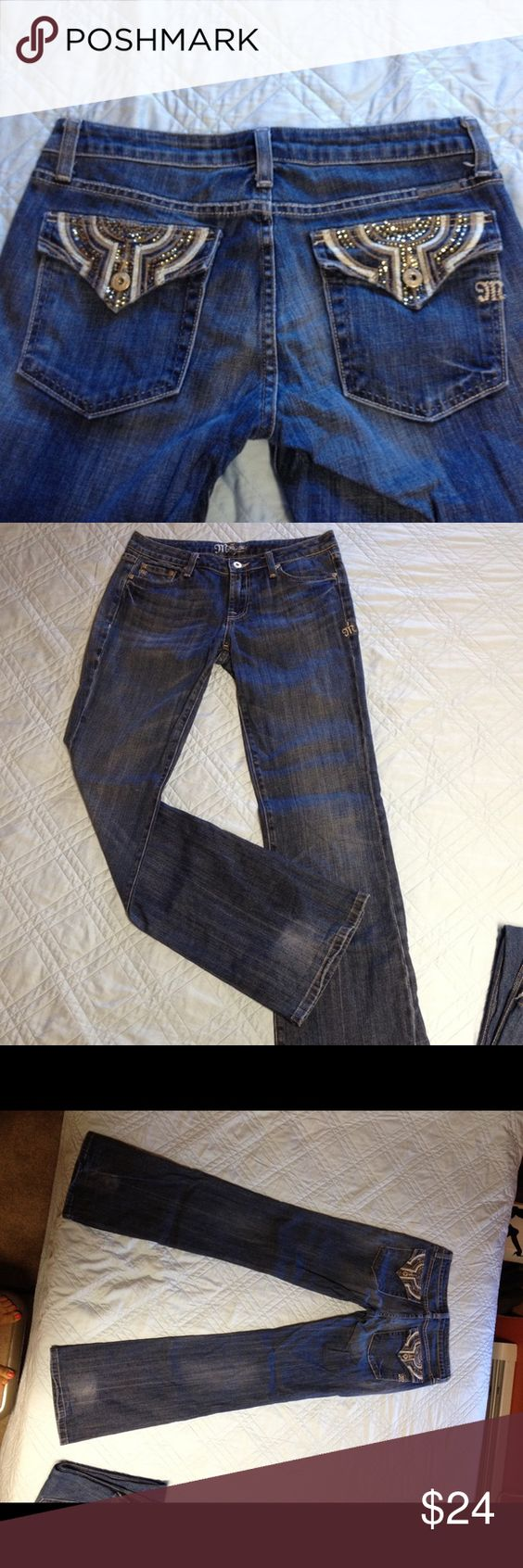 Miss Me Jeans Hey here's a really fun pair of miss me jeans size 30. These are in good used condition I do have some rhinestones that are loose or missing on the back pockets. Please take a look at the pictures. Miss Me Jeans