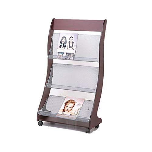 Zhilian Magazine Rack News Rack Floor Standing Pulley With Multi Layer Wooden Bookshelf Display Stand Propaganda Rack Magazine Rack Display Stand Storage Rack