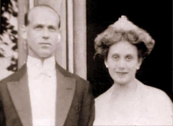 Grand Duke Mikhail Aleksandrovich and Countess Natalia Brassova.   He had been exiled out of Russia for his marriage to the twice divorced Natalia. He pleaded to his brother the Tsar to let him return to Russia and help fight during WWI. The Tsar granted him permission and Mikhail and his wife and son returned. During the revolution Mikhail was arrested and held captive, eventually executed in a field. Natalia and her daughter from a previous marriage and their son fled Russia.