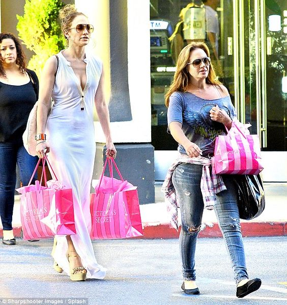 Intimates: Jennifer Lopez, left, and Leah Remini, right, were seen carrying bags from Victoria's Secret as they shopped in Los Angeles, California on Thursday
