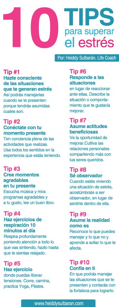 Life Coaching Heiddy Sulbarán. 10 Tips para superar el estrés: